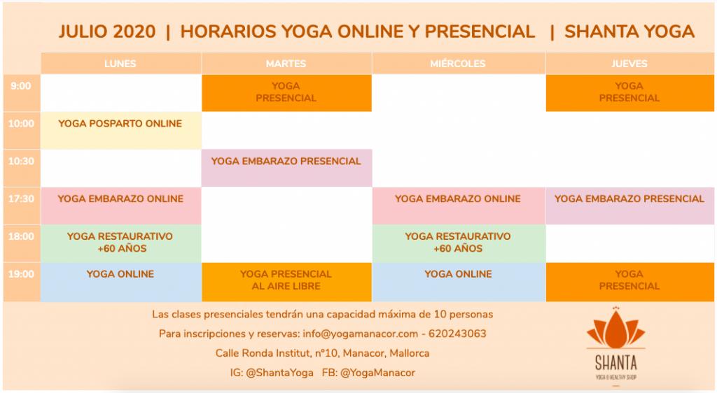 Horarios Yoga Manacor Mallorca